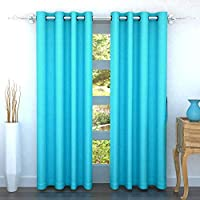 Story at Home 200 GSM Polyester 2 Pieces Door Curtain, Turquoise, 118 cm x 215 cm