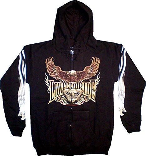 Herren Damen Sweatshirt Kapuzen Pullover M-XXL Motiv Adler-Motorrad Hoodie: Größe: L (Pullover Adler)