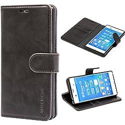Mulbess Housse pour Sony Z3, Coque Sony Xperia Z3 Cuir, Étui Portefeuille avec à Rabat Magnétique Housse Protection pour Sony Z3 Etui Pochette, Noir