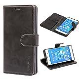 Mulbess Handyhülle für Sony Xperia Z3 Hülle, Leder Flip Case Schutzhülle für Sony Z3 Tasche, Schwarz
