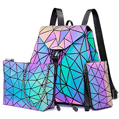 Geometrische Rucksack Damen Farbwechsel reflektierende Tasche leuchtende Geldbörse Umhängetasche Schultertaschen Tagesrucksack für Damen holographische party Arbeiten Einkaufen Schule (3 Stück Set)
