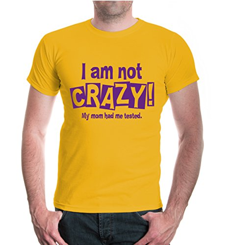 buXsbaum® T-Shirt I am not crazy. My mum had me tested. Sunflower-Purple