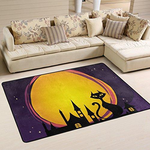 DEYYA Moderne Halloween Wolf Howl Flokati Teppiche für Wohnzimmer und Schlafzimmer, Griffige Bereich Teppich für Kinder Schlafzimmer-Dekor, 72 x 48 Zoll Multi