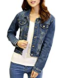SaiDeng Mujeres Corto Chaquetas Jacket De Mezclilla Abrigo Denim Jacket