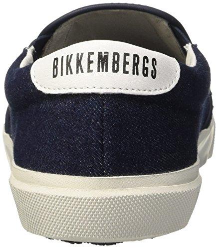 Bikkembergs Rubb-Er 689 Slip On M Denim/Leather, Pompes à Plateforme Plate Homme Bleu (Blue/White)