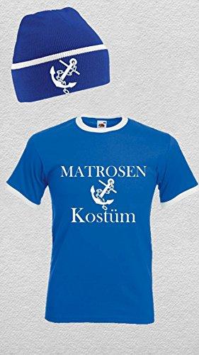 world-of-shirt Unisex Retro T-Shirt MATROSEN Kostüm mit Mütze Blau