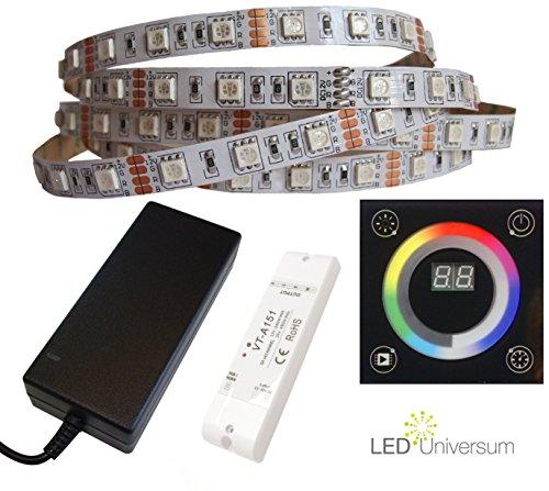 5Meter Tira RGB LED (60LED/M, IP20, 12V) con control de pared, radio controlador y fuente de alimentación