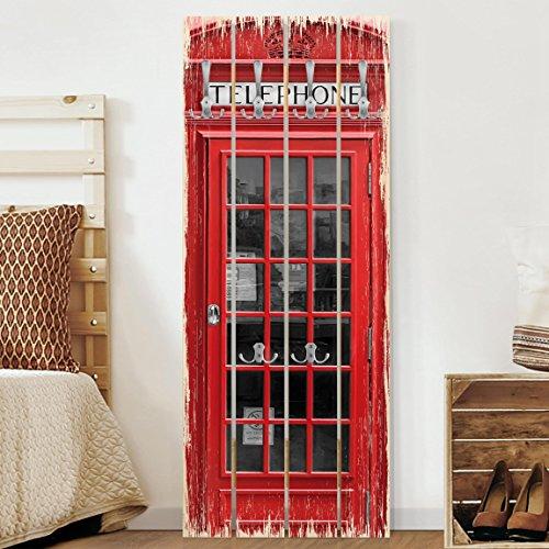 Bilderwelten appendiabiti in legno - telephone - ganci cromati - verticale, appendiabiti a muro appendiabiti da muro appendiabiti da parete appendiabiti design, dimensione: 100cm x 40cm