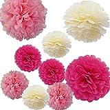 Alxcio 9pcs Papier Boule de Fleurs de Soie Pompon pour Noël Mariage Fête DIY Décoration,10 Pouces et 14 Pouces, Jaune clair, Rose, Rose rouge