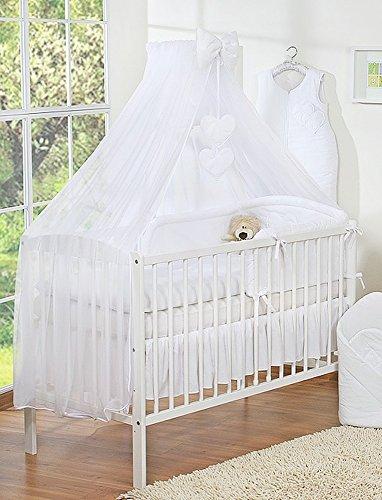 Baldacchino per lettino da bebè, zanzariera, motivo: cuori, formato grande, colore: bianco