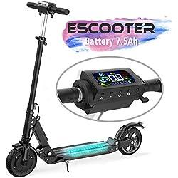 COLORWAY Trottinette électrique S1, patinette Pliable avec LED et Roue 8 Pouces, Scooter électrique Mode 3 Vitesses réglable (Noir)