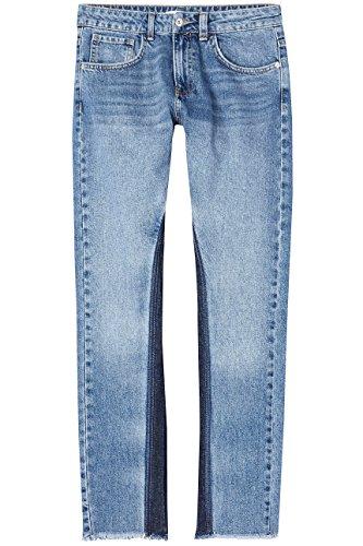FIND Damen Denim Shadow Panel fit Straight Jeans, Blau, W26/L32 (Herstellergröße: X-Small)