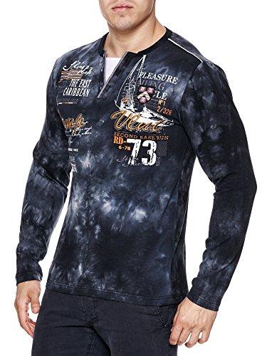 Herren Washed Polo Camp langarm Shirt Clubwear T-Shirt V-Neck longsleeve Schwarz