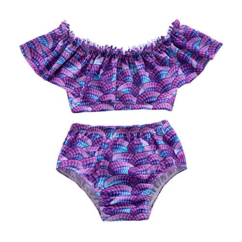 Yonimu Babywaage Meerjungfrau Rüschen zweiteiligen Badeanzug, lässig Strand Badeanzug für Kleinkind Kleinkind (Color : Purple, Size : 4-5T)