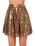 Weyeei Damen Mini Rock Pailletten Party A-Linie Clubwear Rocks (Gold, S)