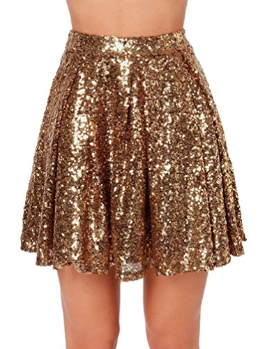 Weyeei Damen Mini Rock Pailletten Party A-Linie Clubwear Rocks (Gold, L)