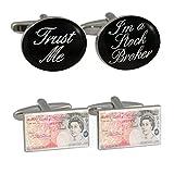 Trust Me I 'm A Lager Broker & Neuheit £50Note Manschettenknöpfe in Leder Präsentation Fall