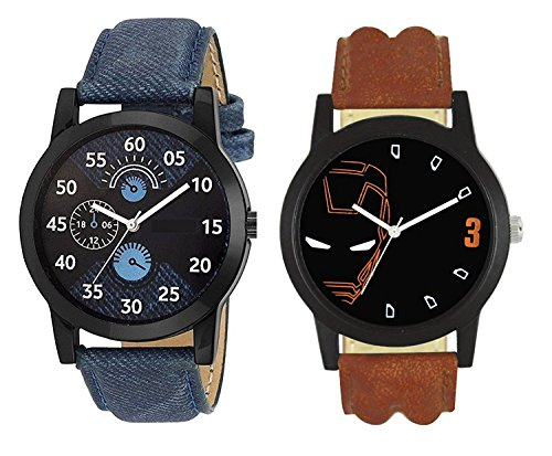 Mishva Analog Multi-color Dial Men's & Boy's Watch Leather Strap Pack of 2