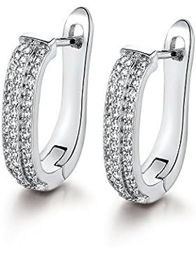 GULICX Brautschmuck Silber-Ton Reihe Weiß Kistall Prong Ohrringe Zirkonia CZ Creole