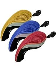 Andux 3pcs couvre de tête du club de golf hybride interchangeables NO. tag MT/hy09 (rouge, bleu,jeune)