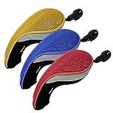 Andux 3pcs coprimazza da golf per ibridi intercambiabile No. Etichetta copri mazze MT/hy09 rosso giallo blu
