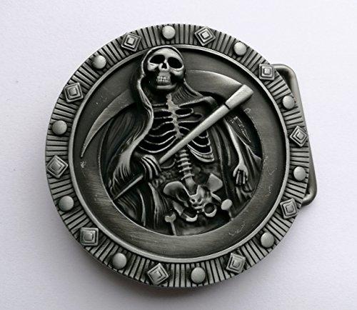 Calavera Esqueleto Parca Diablo Infierno muerte Metal hebilla de cinturón