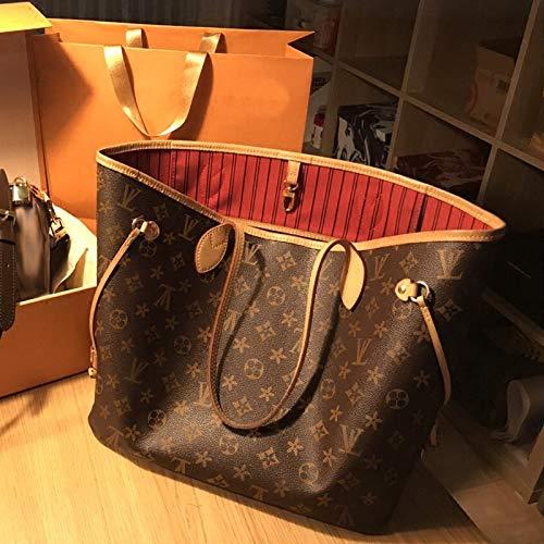 Mrs. Li's shop Europäische und amerikanische Mode Leder Rindsleder Schulter Plaid Kaffee weiß Plaid Einkaufstasche Handtasche, Kaffee Blume