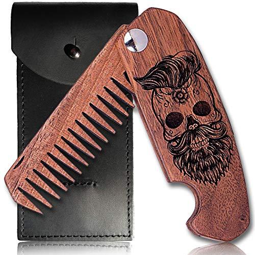 Bartkamm Holz Klappbar Taschenkamm klappkamm antistatische Bartpflege Kamm aus holz holzkamm