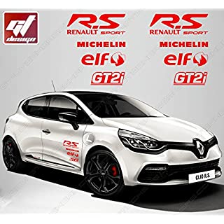 Aufkleber–Set Sticker Sponsoren RS R.S R S Renault Sport/Michelin/Elf/gt2i–Rot Megane, Twingo, Captur, Clio, Clio RS, RS27, Megane RS, Laguna, Laguna Coupe, Wind, Kadjar, Zoé, Scenic, Montblanc Automaxi Kit, Talisman
