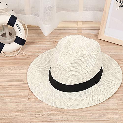 LIWEIL Schattenkappen Sonnenhut Band Runde Flat Top Stroh Strand Panama Hut Sommer Hüte Für Männer Frauen Strohhüte