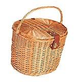 Vintage-Woven Fahrradkorb Holz Picknick-Korb mit Deckel und Griff