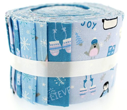 Fabric Freedom Stoff Freiheit Winter Warmers Weihnachten blau Jelly Baby Rolle, 100% Baumwolle, Mehrfarbig, 9x 9x 7cm