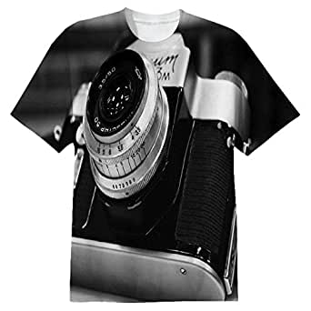 Snoogg Camera Black And White Mens Casual All Over Printed T Shirts Tees