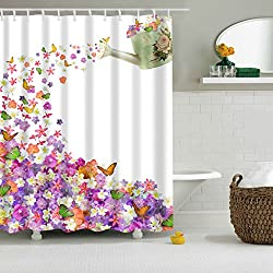 Magideal Shower Curtain Sheer Waterproof Panel Bathroom Decor w/ Hooks Watering Can