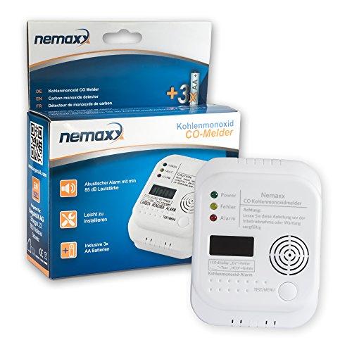 1x Nemaxx Co Melder - intelligenter Kohlenmonoxid Sensor, batteriebetriebener Warner und Alarm mit Digitalanzeige - nach DIN EN50291