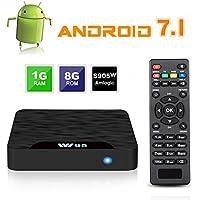 TV Box Android 7.1–Viden W1Smart TV Box Amlogic s905W Quad Core, 1GB RAM & 8Go ROM, UHD 4K * 2K H.265, HDMI, USB * 2, WiFi Android Media Player, Set-Top Box