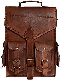 Genuine Leather Vertical Back Pack Messenger Bag Brown BY Bag House - B07BZW85KS
