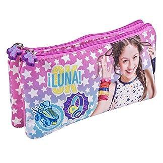 Estuche escolar Niña Disney Soy Luna – Bolsa portatodo para lapices con estrellas blancas – Practico estuche portatodo con doble cremallera para la escuela y de viaje – Rosa y Azul – 10x21x6 cm – Perletti