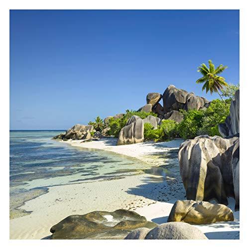 Tapete selbstklebend - Traumstrand Seychellen - Fototapete Quadrat 288x288 cm