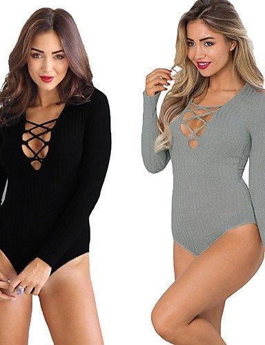 GSP-Combinaisons Aux femmes Manches Longues Sexy / Plage Autres Moyen Micro-élastique gray-m