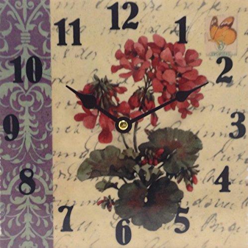 Vintage Wanduhr aus Keramik - Blumen - auch zum Hinstellen 20x20 cm