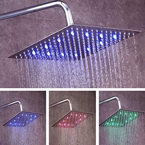 fyeer 30,5cm LED Rainfall Duschkopf, quadratisch, superdünn Luxus Badezimmer Duschkopf Deckenleuchte montiert, 3-lagige, Nickel gebürstet 304Edelstahl, Temperatur Sensor 3Farben Bärendesign