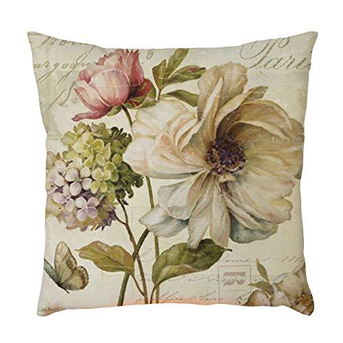 Vovotrade Dekorative Vintage Blumen Sofa Kissenbezug Dekokissen Bezug Kopfkissenhülle Geschenk Haus Dekoration Zierkissenbezüge weich Quadrat Sofa Kissen -
