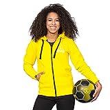 Borussia Dortmund BVB-Frauen-Kapuzensweatjacke, Gelb mit breiter Kordel & aufgenährter 09, 60% Baumwolle & 40% Polyester, S-3XL S