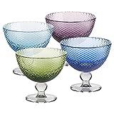 4 x Eiscremeglas, Eisbecher, Eisschale ~BUBBLES~ 4-farbig, 11 cm, Glas (GELATO VERO powered by CRISTALICA)