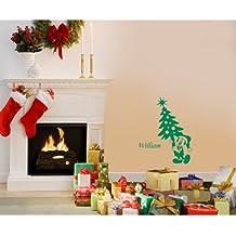 60 cm x 32 cm tamaño de la decoración de color verde Mickey mouse con su nombre elegido, nombre, nombre personaliseitonline, árbol de Navidad, infantil, vinilo del coche, las ventanas y pared, ventanas de pared arte, etiquetas de Navidad, adorno de adhesivo de vinilo ThatVinylPlace