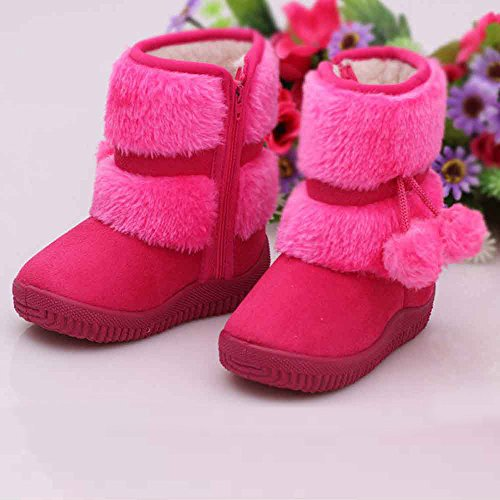 Hunpta Mädchen Schneestiefel Ball Baumwolle Mode Winter Baby Kind Stil Baumwolle Stiefel warme (Alter: 28-32M, Hot Pink) Hot Pink