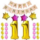 KUNGYO Corredo Dolce della Decorazione del Partito di Compleanno Happy Birthday Bandiera Rosa Numero 11 Mylar Foil Palloncini 4 Pezzi Stella 16 Pezzi Palloncino Latex Rosa Oro Compleanno di 11 Anni