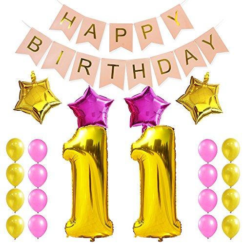 KUNGYO Zum 11. Geburtstag Party Dekorationen Satz-Rosa Happy Birthday Banner, Folienballon 11 in Gold-XXL Riesenzahl 100cm; Stern&Latex Ballon- Süße Alles Gute Zum Geburtstag für Frauen (Ballons Latex 11)