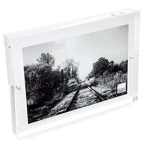 Plexismart cornice foto 18 x 13 x 2 cm in plexiglass - portafoto da tavolo con chiusura magnetica made in italy, trasparente